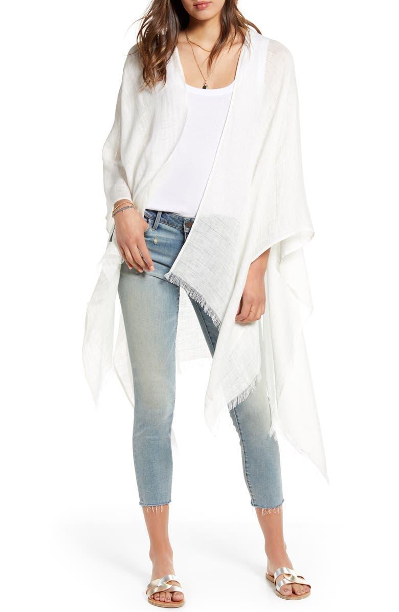 TREASURE & BOND Linen Ruana, Main, color, WHITE