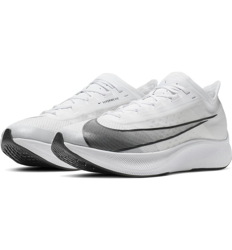 NIKE Zoom Fly 3 Running Shoe, Main, color, WHITE/ BLACK/ GREY
