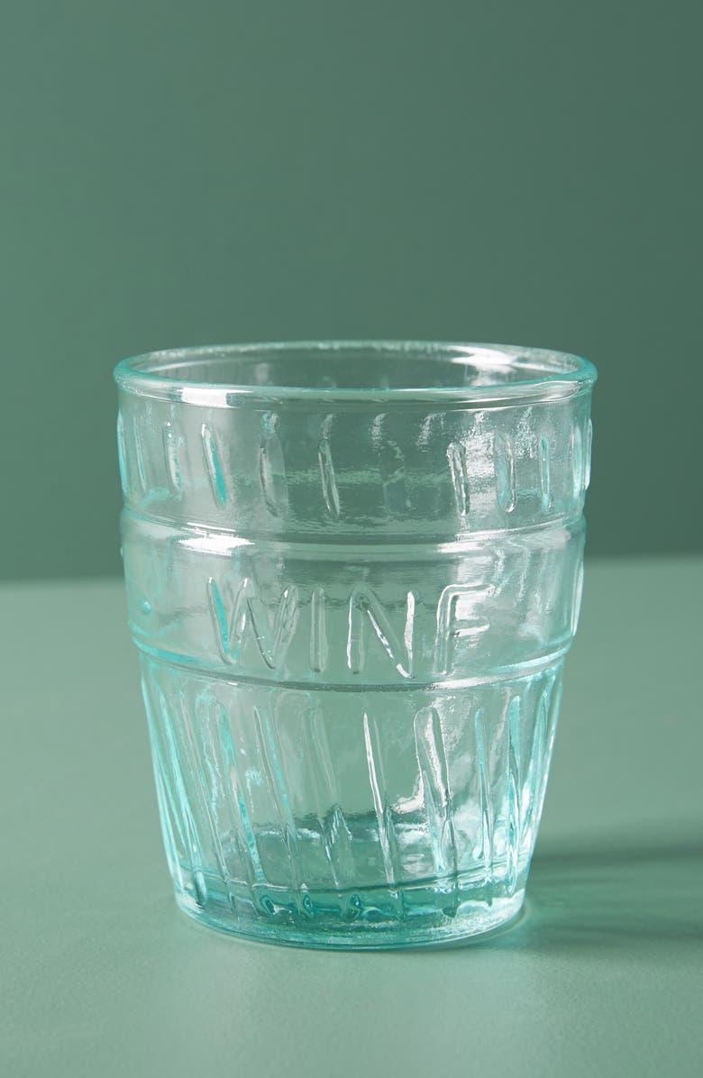 ANTHROPOLOGIE Riviera Set of 4 Stemless Wine Glasses, Main, color, BLUE