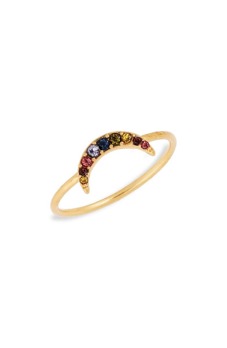 MADEWELL Rainbow Pavé Moon Ring, Main, color, 710