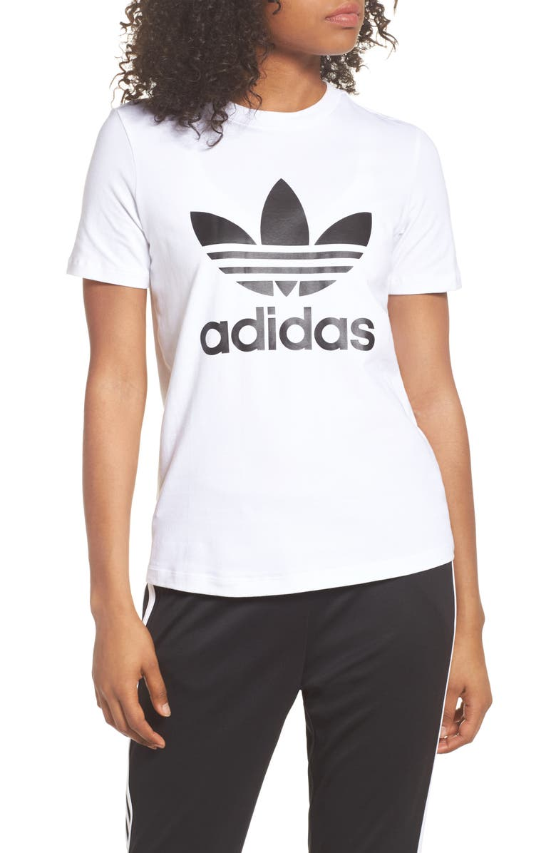 ADIDAS ORIGINALS adidas Trefoil Tee, Main, color, WHITE/ BLACK