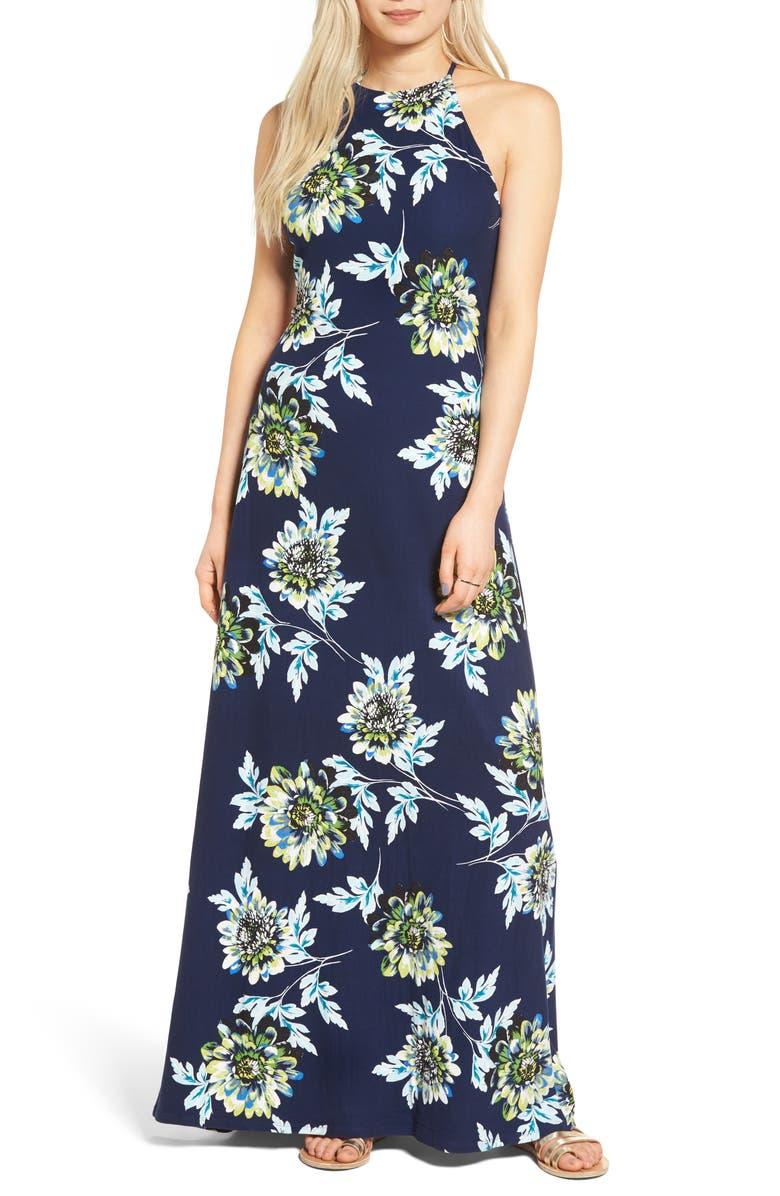 MIMI CHICA Floral Print High Neck Maxi Dress, Main, color, 410