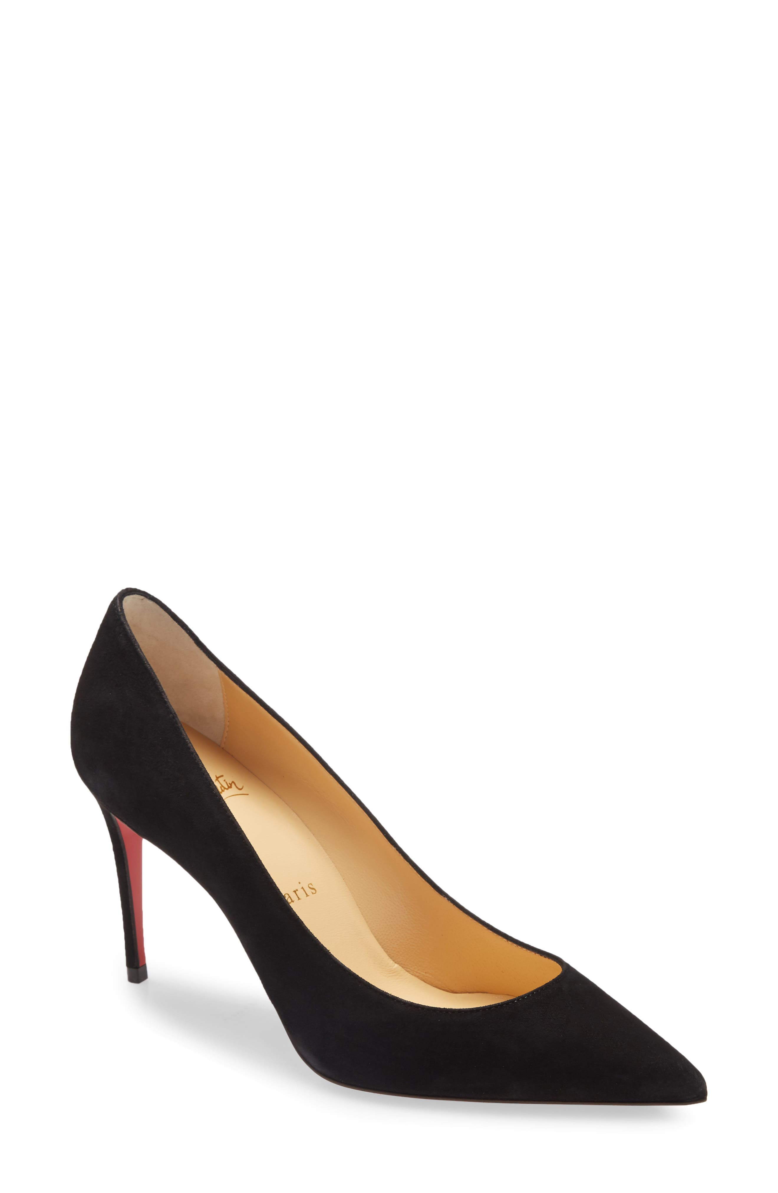 The maison\\\'s most iconic shoe, this pointy-toe suede pump is designed with a low-cut vamp that bares the foot with subtlety and a bit of sensuality. Style Name: Christian Louboutin Kate Pointed Toe Pump (Women). Style Number: 6046898. Available in stores.