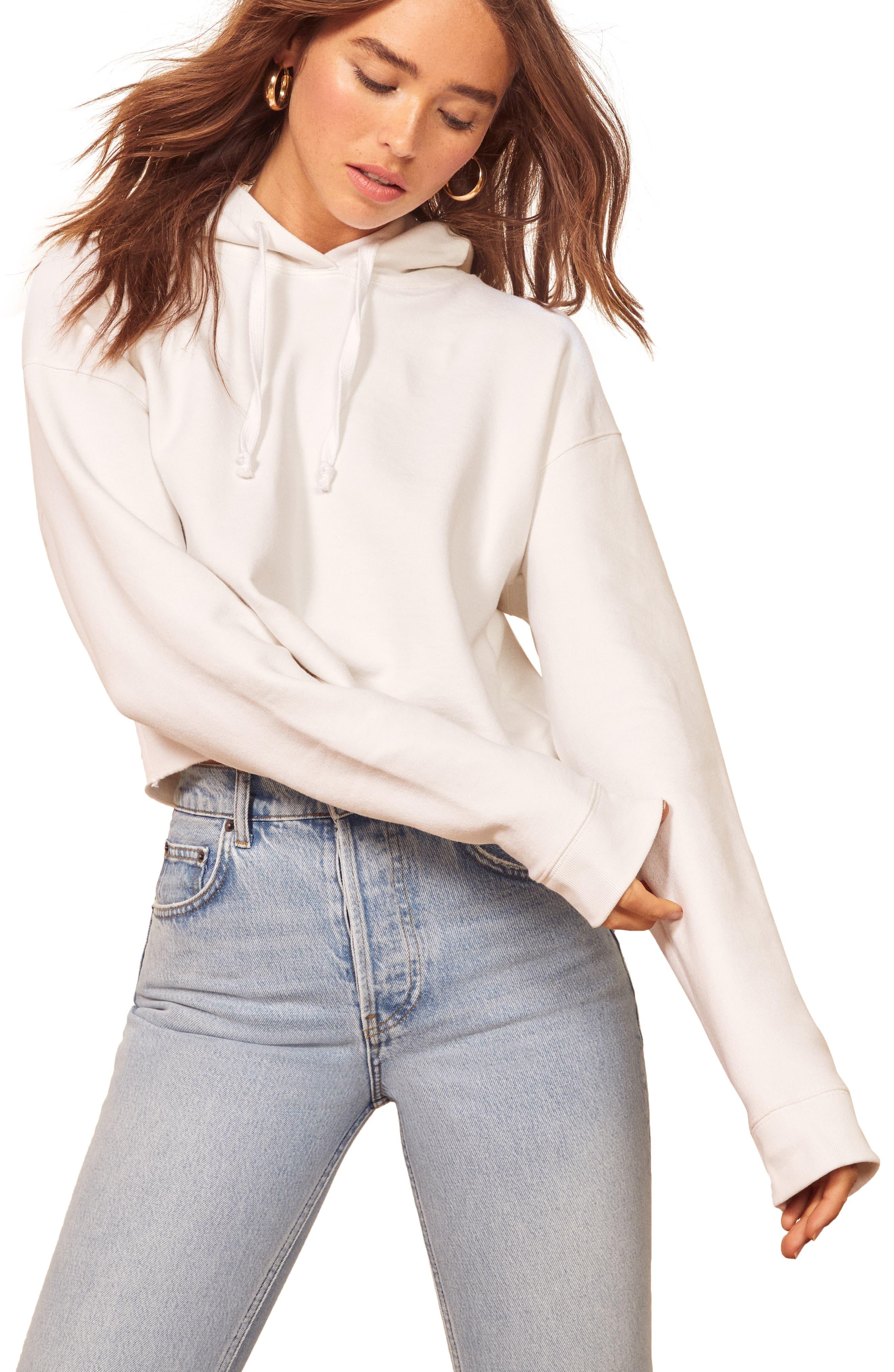 Reformation Miles Crop Hooded Sweatshirt, White