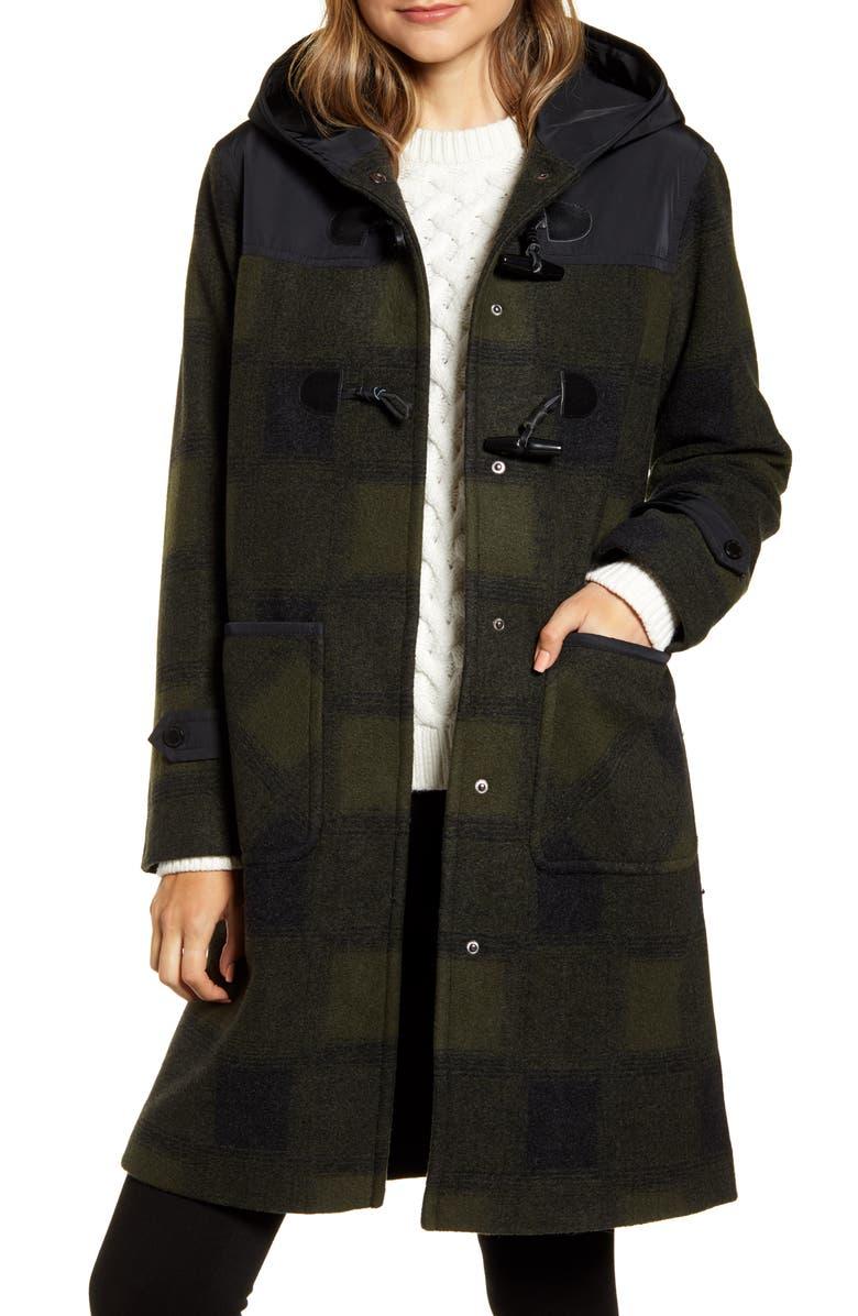 PENDLETON Sandy Hooded Duffle Coat, Main, color, OLIVE BUFFALO