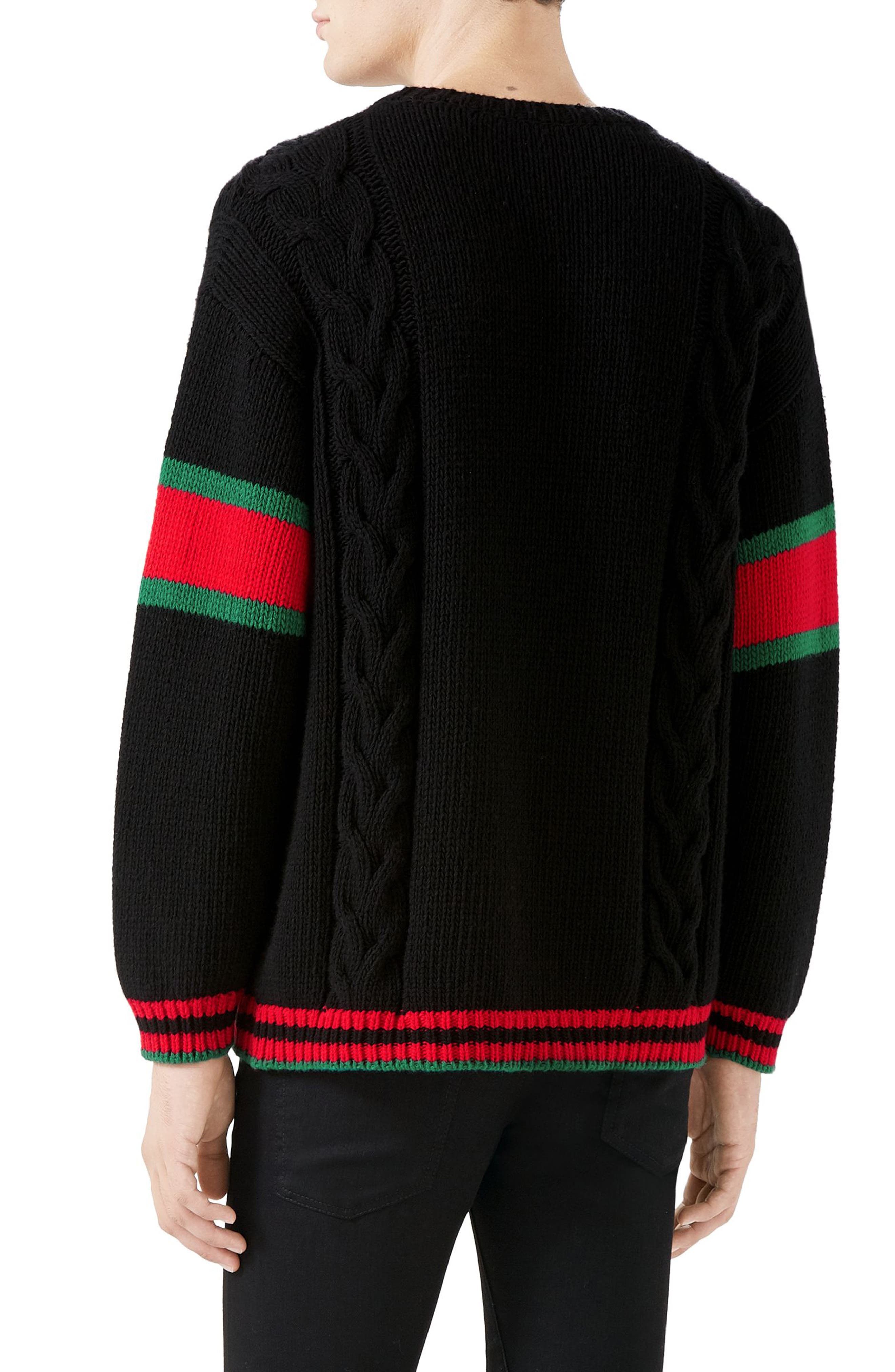 ,                             Cable Knit Wool Crewneck Sweater,                             Alternate thumbnail 2, color,                             BLACK MULTI