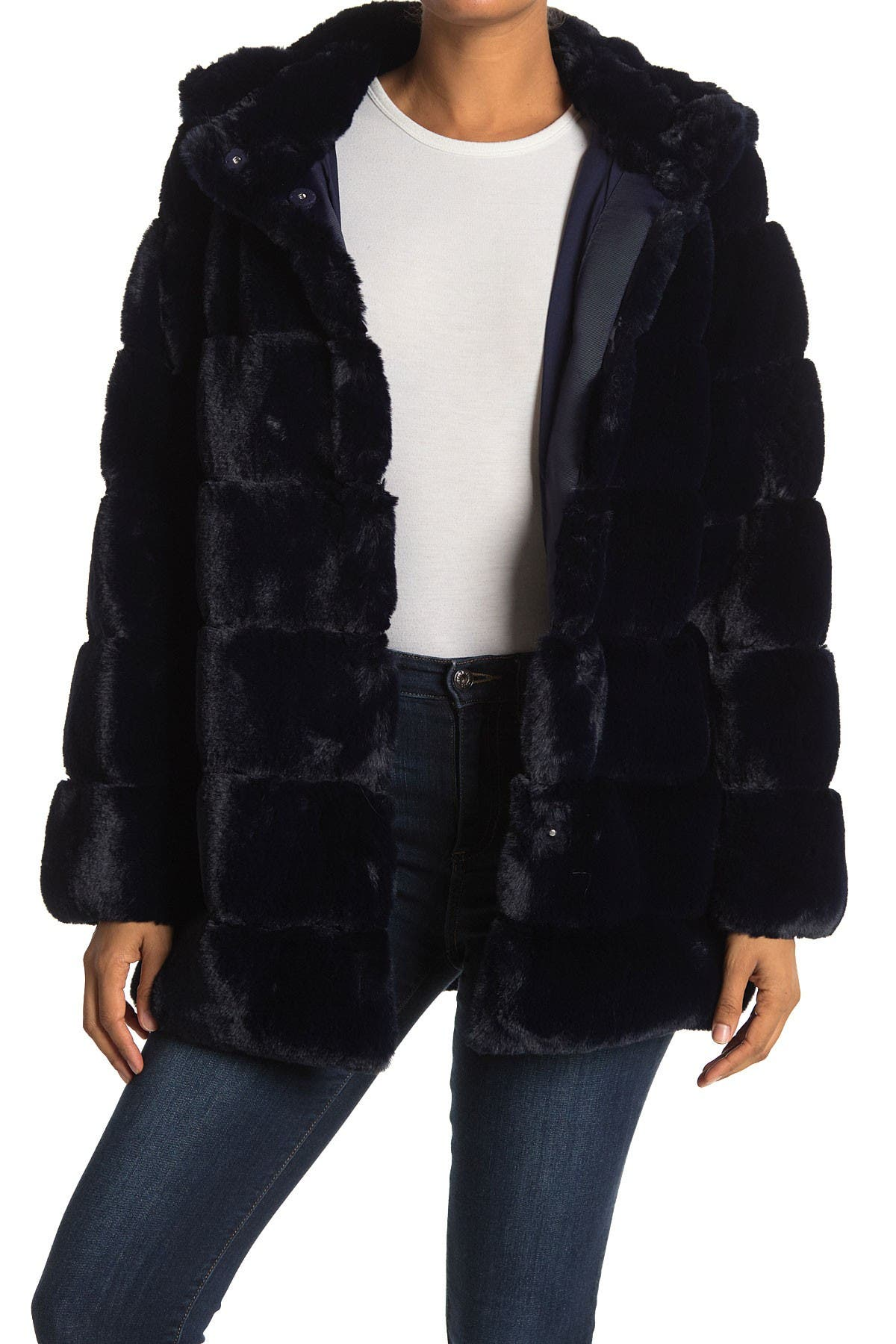 Image of BCBGMAXAZRIA Cozy Grooved Faux Fur Coat