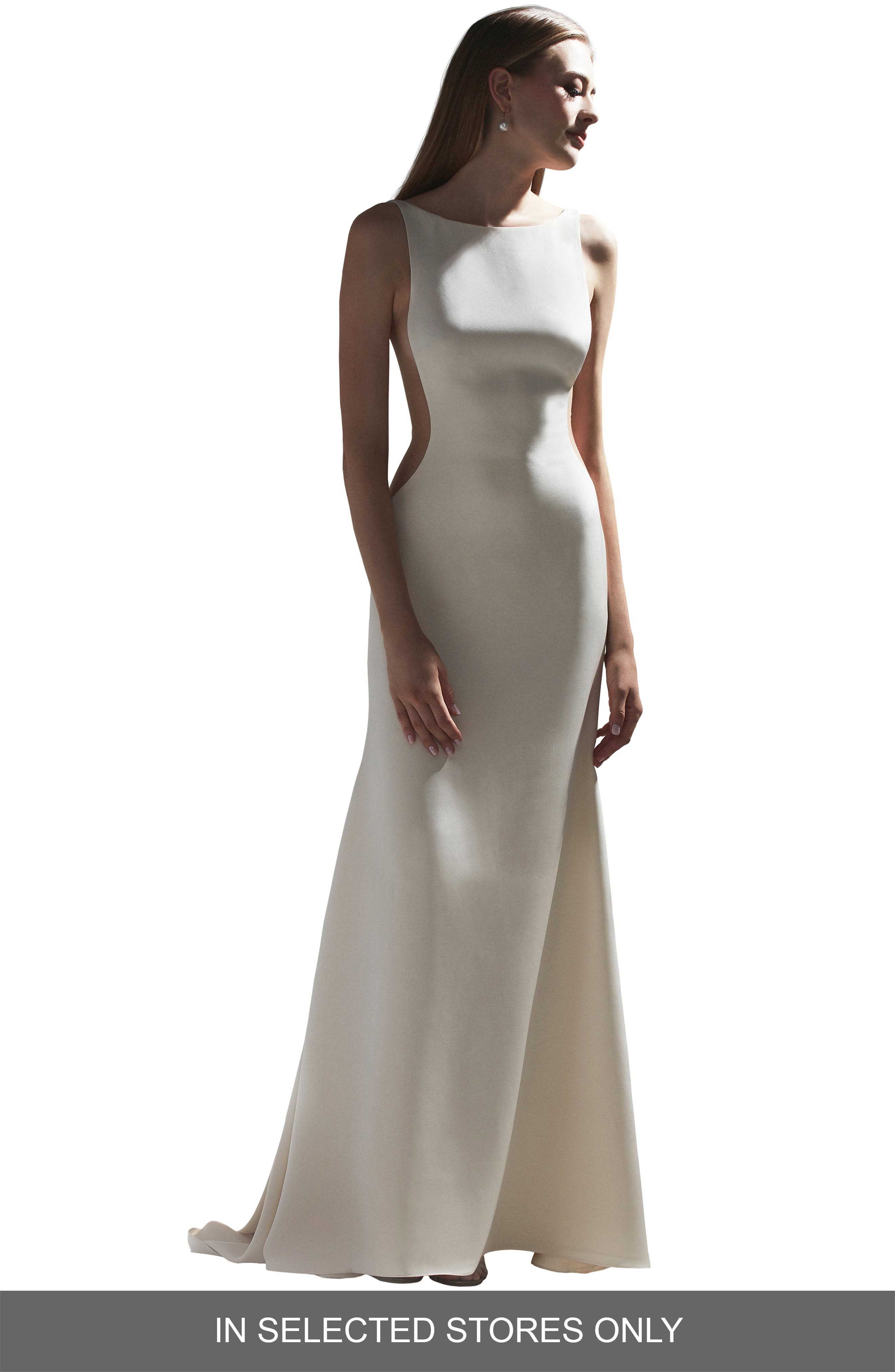 Watters Lotus Side Cutout Crepe Wedding Dress, Size IN STORE ONLY - Ivory