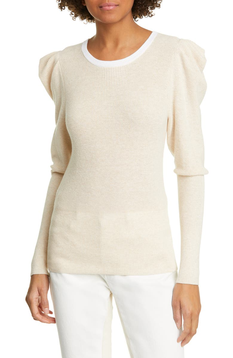 FRAME Puff Shoulder Cotton & Cashmere Sweater, Main, color, OATMEAL HEATHER