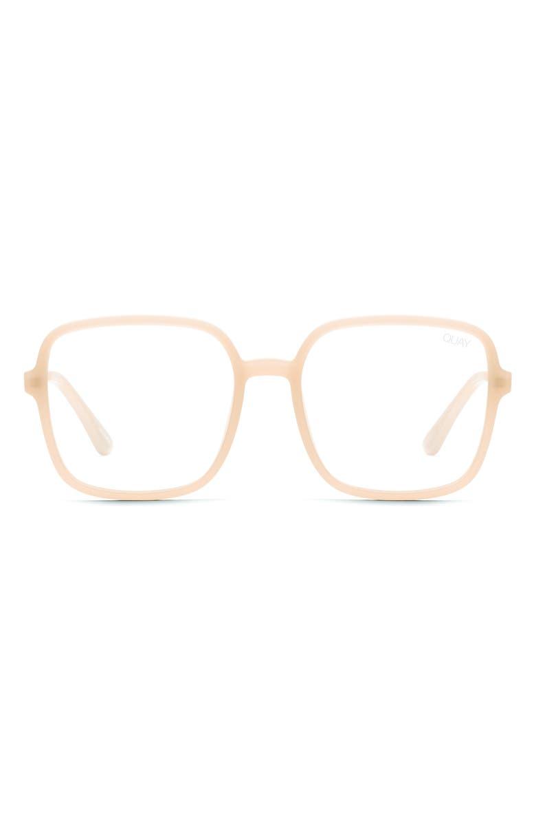 QUAY AUSTRALIA 9 to 5 56mm Blue Light Blocking Glasses, Main, color, PEACH/ CLEAR BLUE LIGHT