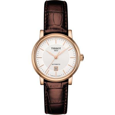 Tissot Premium Carson Automatic Leather Strap Watch, 30Mm