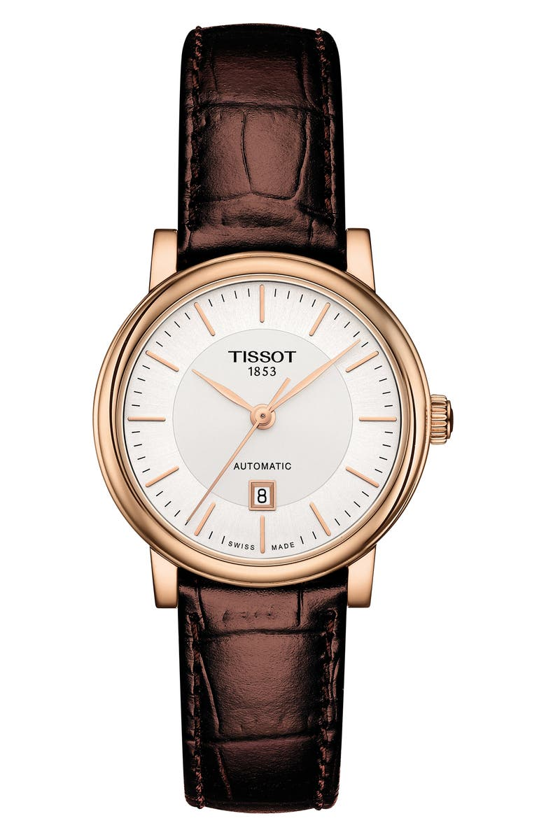 TISSOT Premium Carson Automatic Leather Strap Watch, 30mm, Main, color, BROWN/ SILVER/ ROSE GOLD