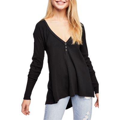 Free People Citrine Textured Cotton Blend Top, Black