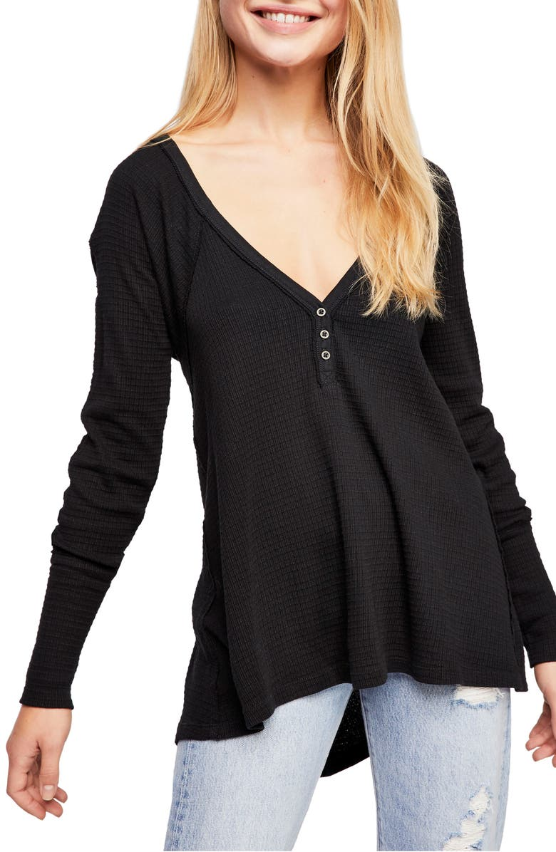 FREE PEOPLE Citrine Textured Cotton Blend Top, Main, color, BLACK
