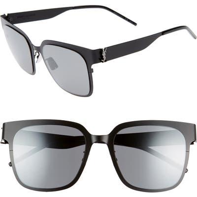 Saint Laurent 5m Flat Front Sunglasses - Semi Matte Black/ Silver Logo