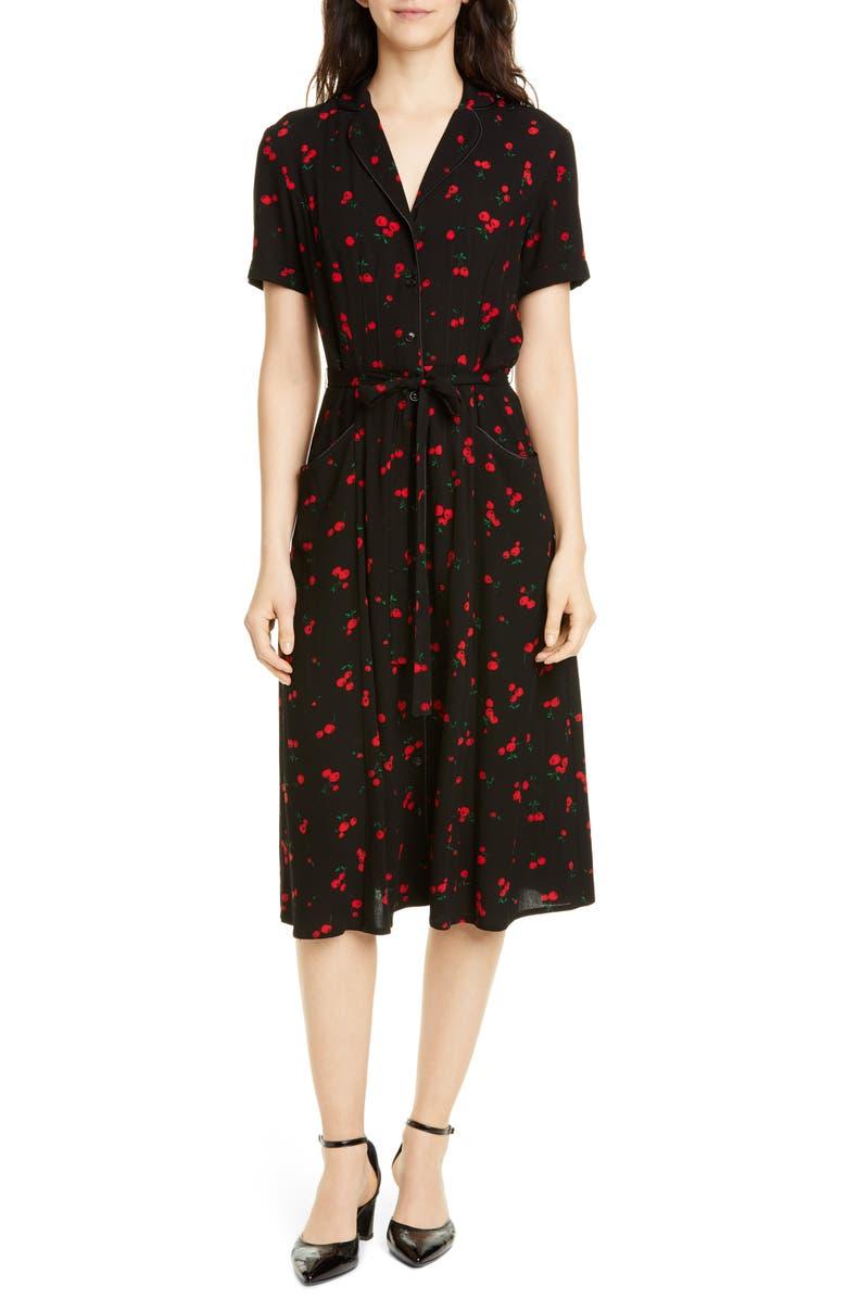 HVN Maria Cherry Print Shirtdress, Main, color, BLACK CHERRY