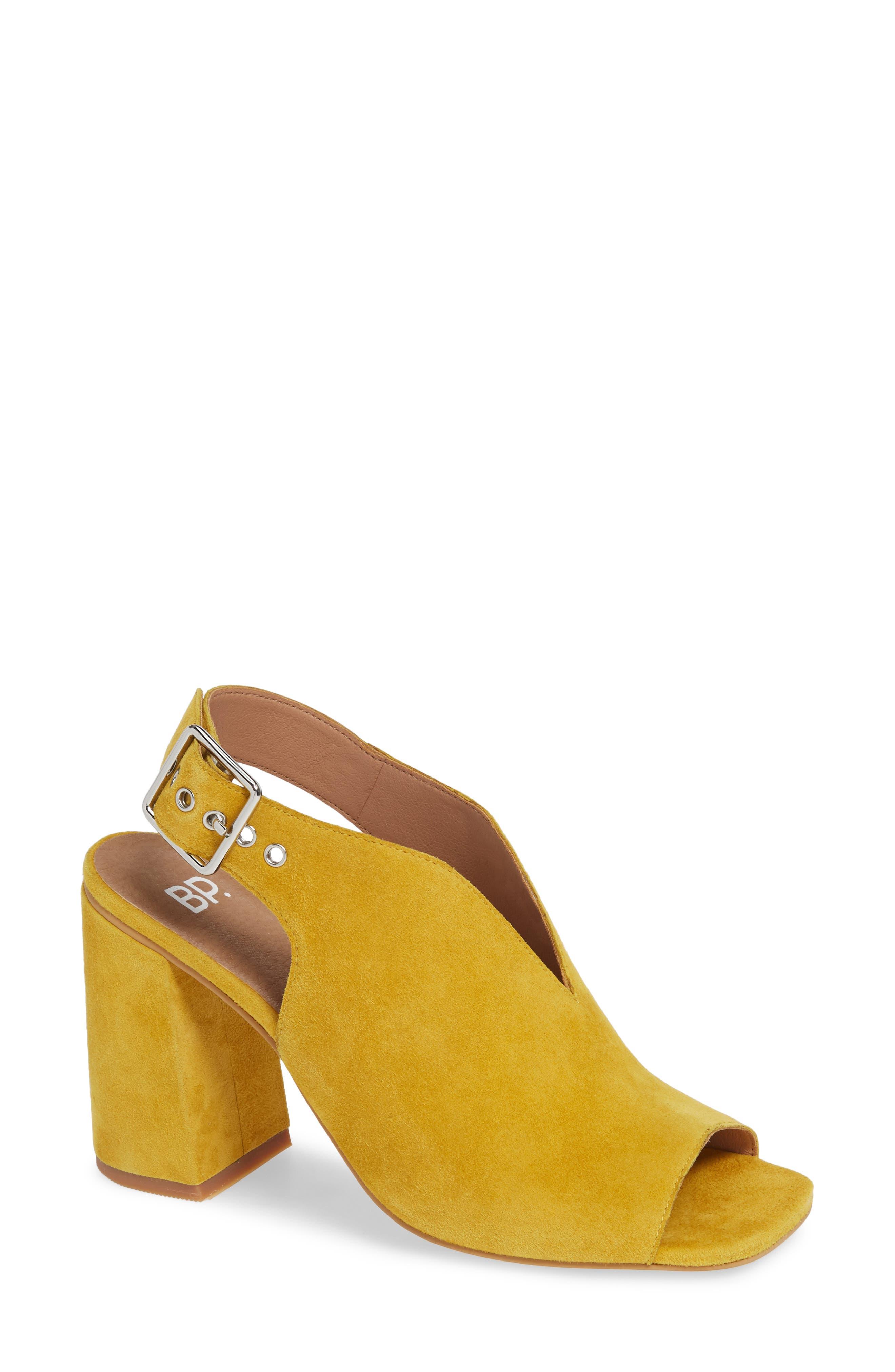 ,                             Block Heel Sandal,                             Main thumbnail 1, color,                             YELLOW SUEDE