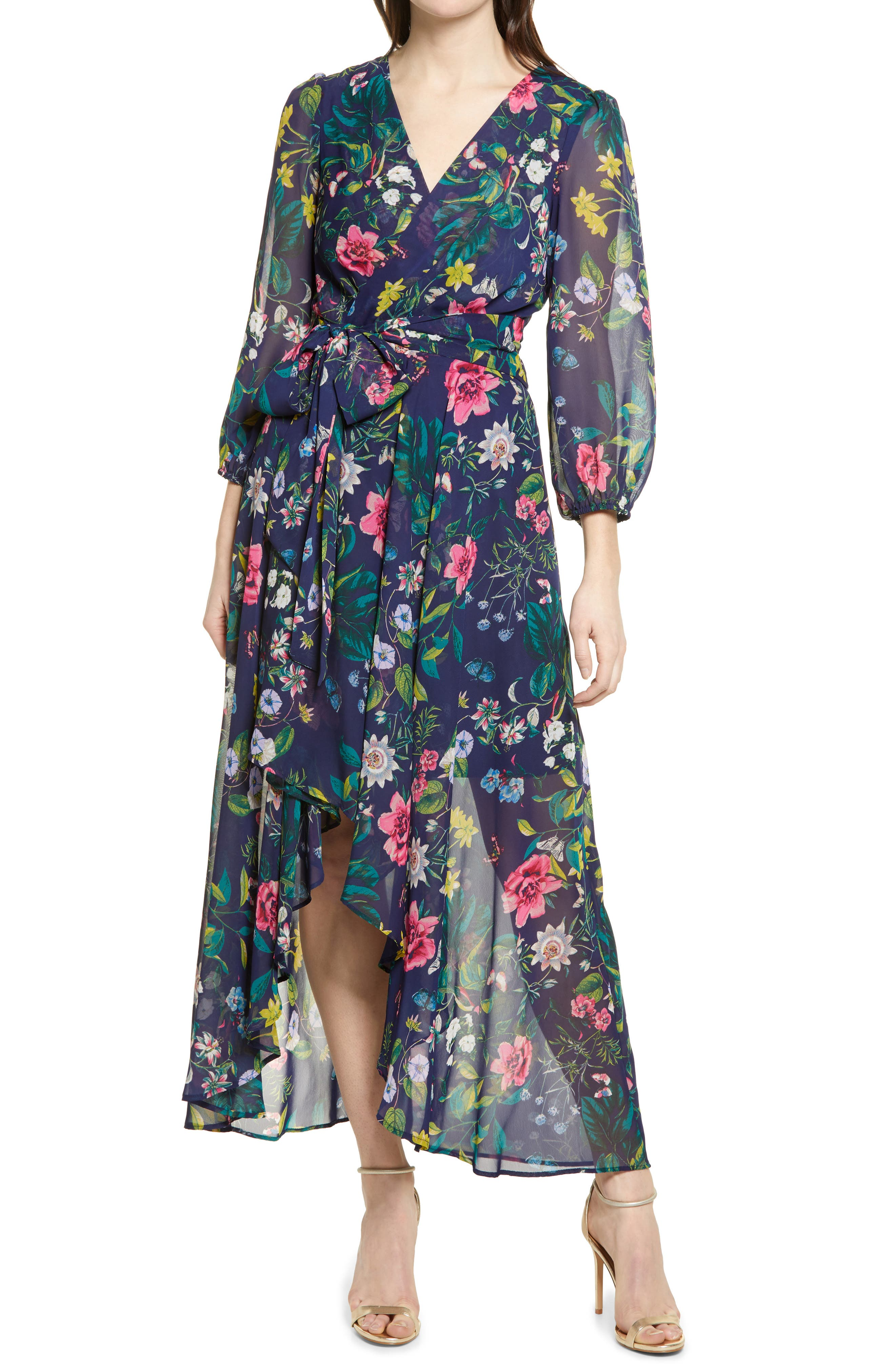 80s Dress Styles | Party, Prom, Formal Womens Eliza J Floral Long Sleeve Faux Wrap Dress Size 0 - Blue $148.00 AT vintagedancer.com
