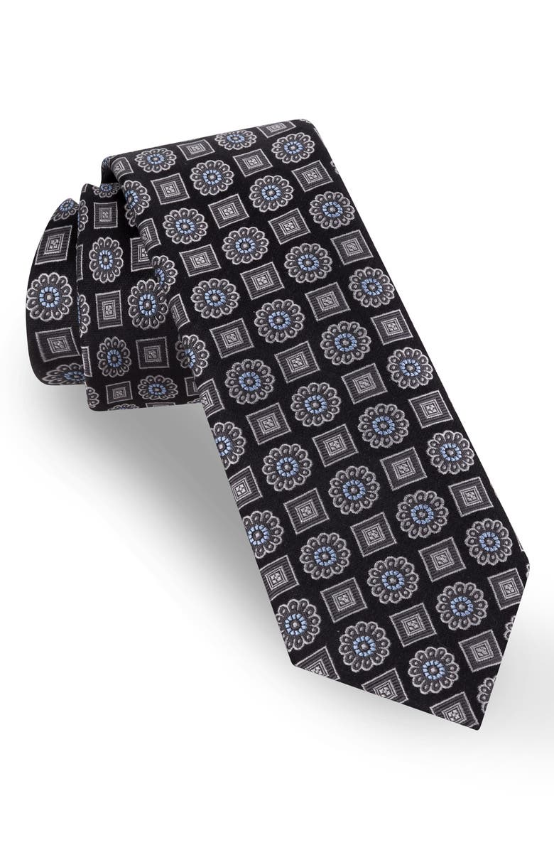 TED BAKER LONDON Medallion Silk Tie, Main, color, BLACK
