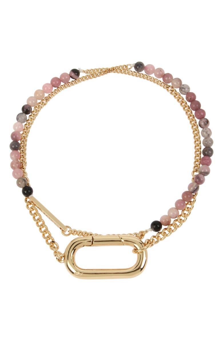 ALLSAINTS Beaded Double Wrap Bracelet, Main, color, RHODOCHROSITE/ GOLD
