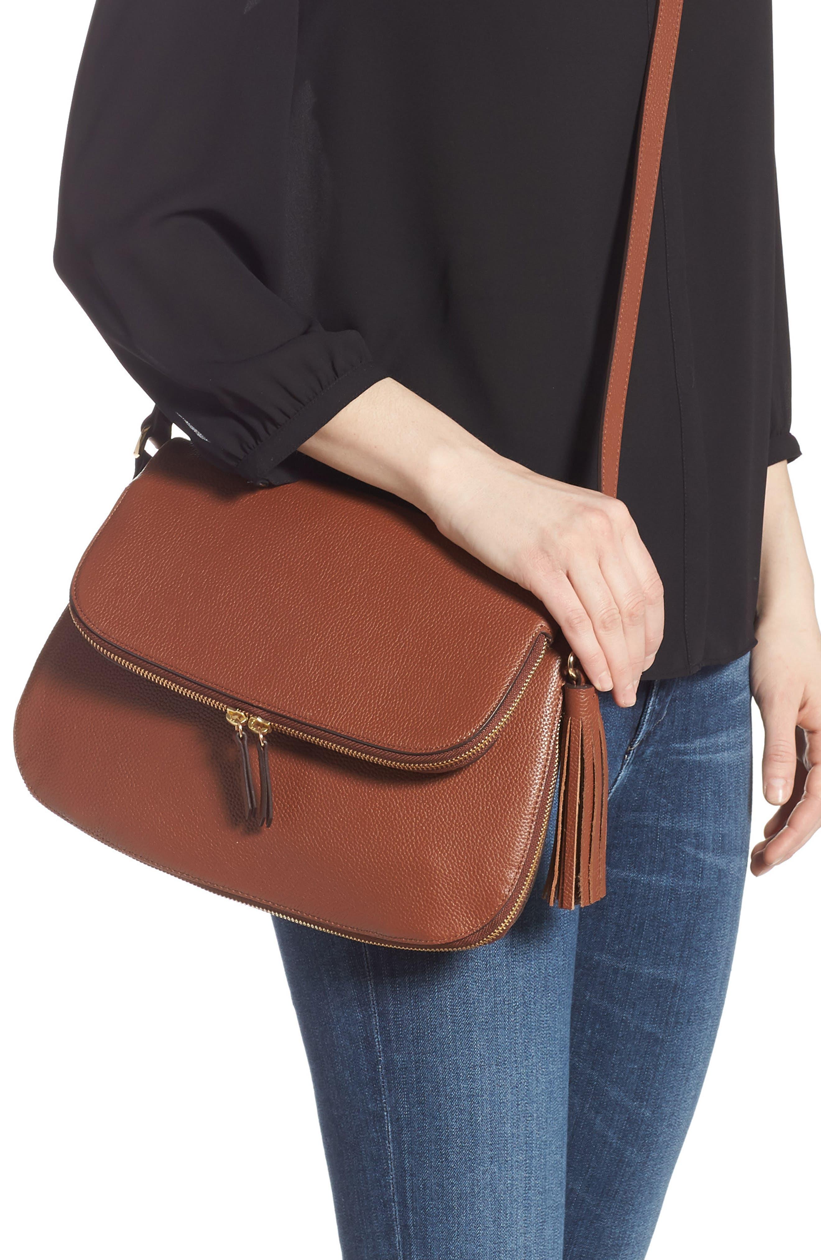 ,                             Kara Leather Expandable Crossbody Bag,                             Alternate thumbnail 2, color,                             BROWN AZTEC