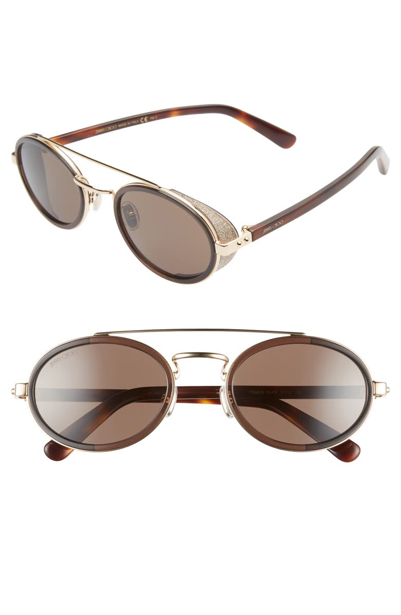 JIMMY CHOO Tonies 51mm Round Sunglasses, Main, color, BROWN GOLD/ BROWN