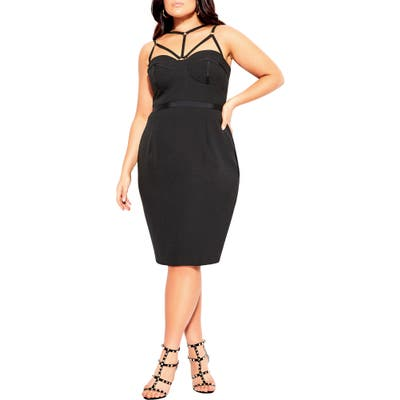 Plus Size City Chic Strappy Sheath Dress, Black