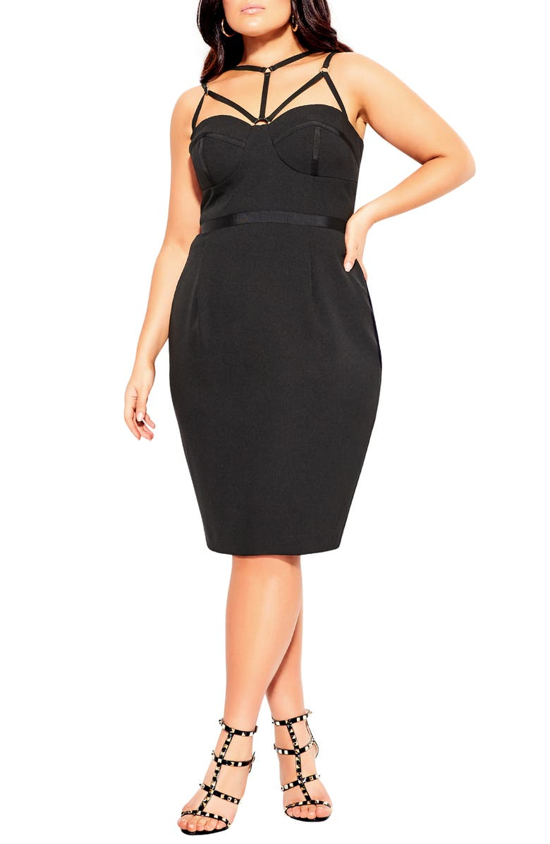 CITY CHIC Strappy Sheath Dress, Main, color, BLACK