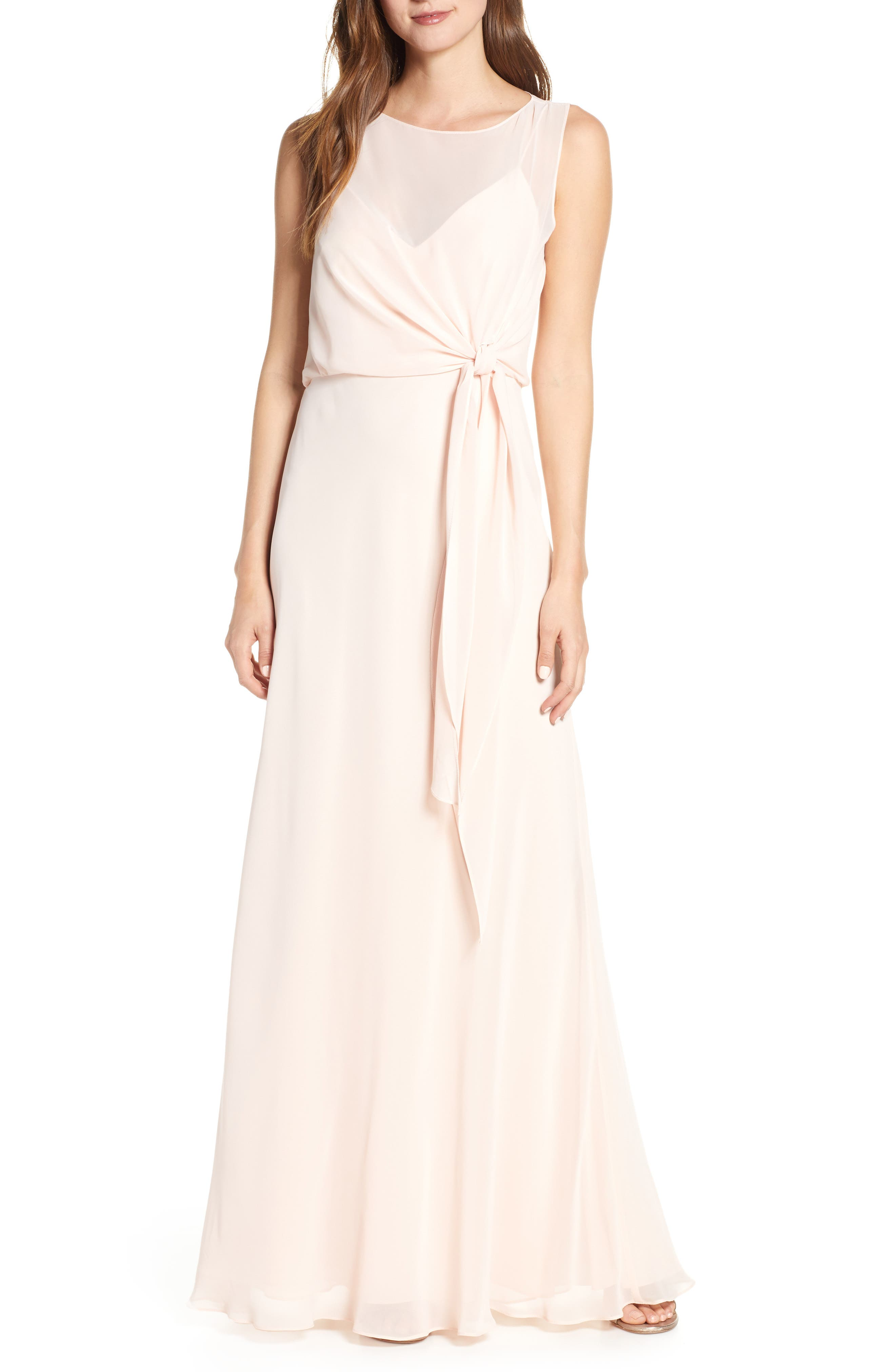 Jenny Yoo Chiffon Overlay Evening Dress, Pink