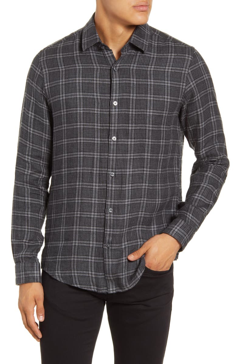 BOSS Lukas Regular Fit Plaid Button-Up Linen Flannel Shirt, Main, color, 030
