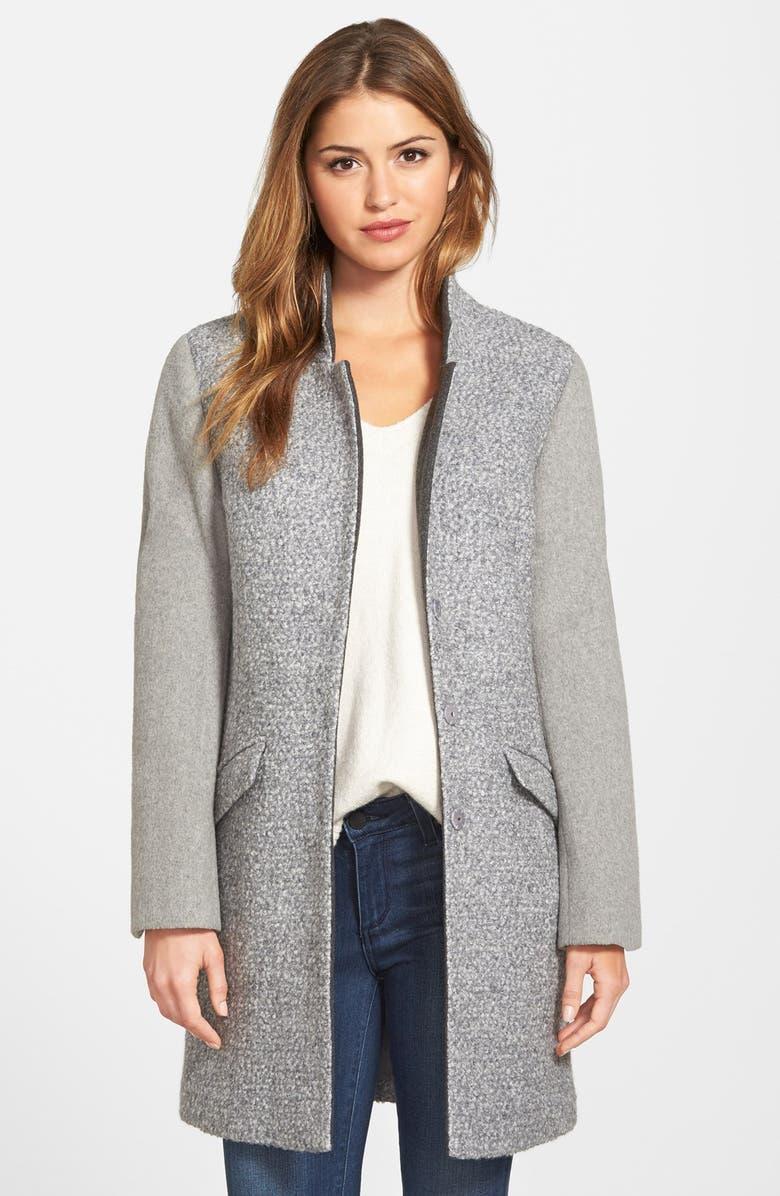 KENNETH COLE NEW YORK Contrast Sleeve Bouclé Coat, Main, color, 030