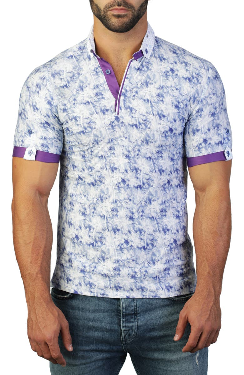 MACEOO Mozart Regular Fit Tropical Button-Down Polo, Main, color, BLUE