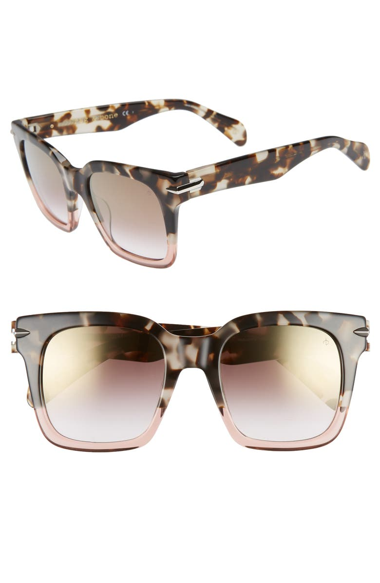 Rag Bone 51mm Polarized Mirrored Square Sunglasses