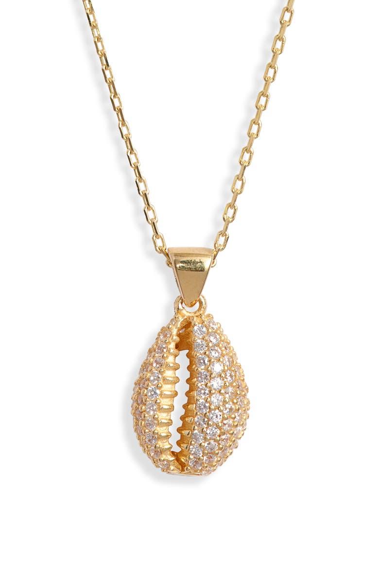 ADINA'S JEWELS Adina's Jewels Pavé Shell Necklace, Main, color, 710