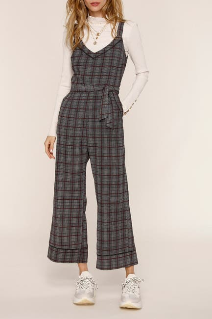 Image of Heartloom Bailey Plaid Belted Crop Jumpsuit
