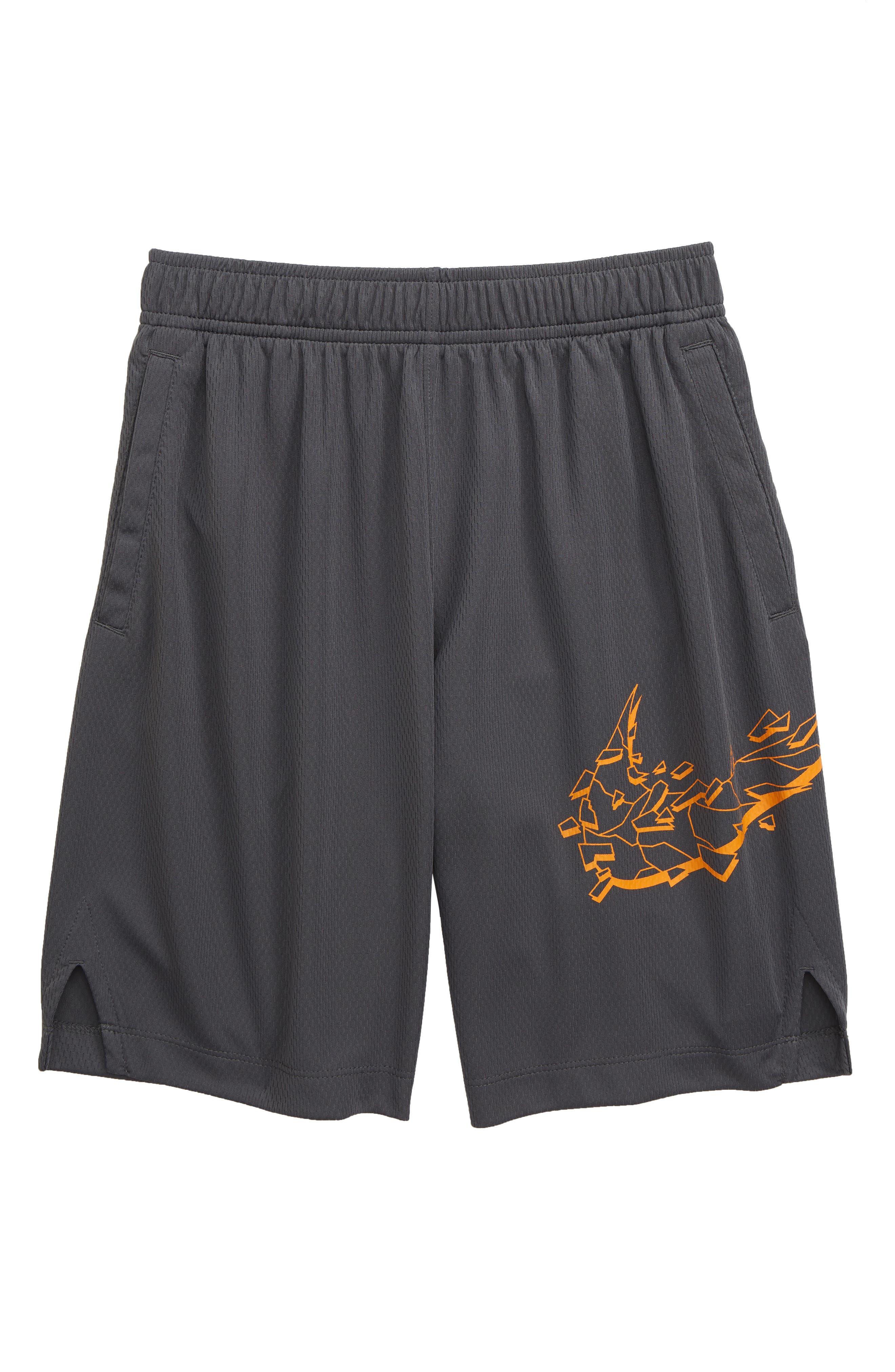 Dri-FIT Graphic Training Shorts, Main, color, DARK GREY / ORANGE PEEL