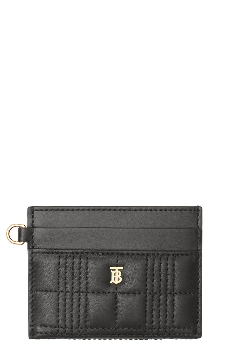 BURBERRY Sandon Quilted Leather Card Case, Main, color, BLACK
