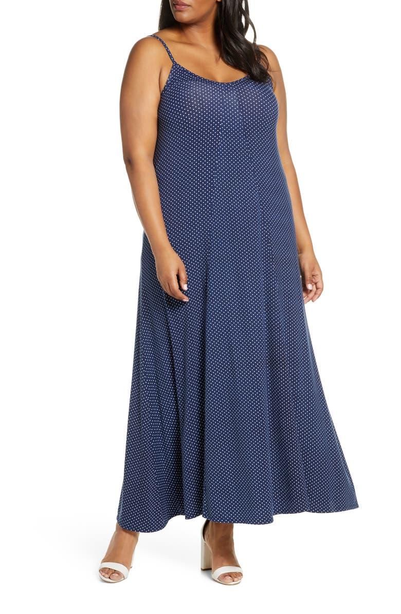 LOVEAPPELLA Loveapella Maxi Slipdress, Main, color, NAVY/ IVORY