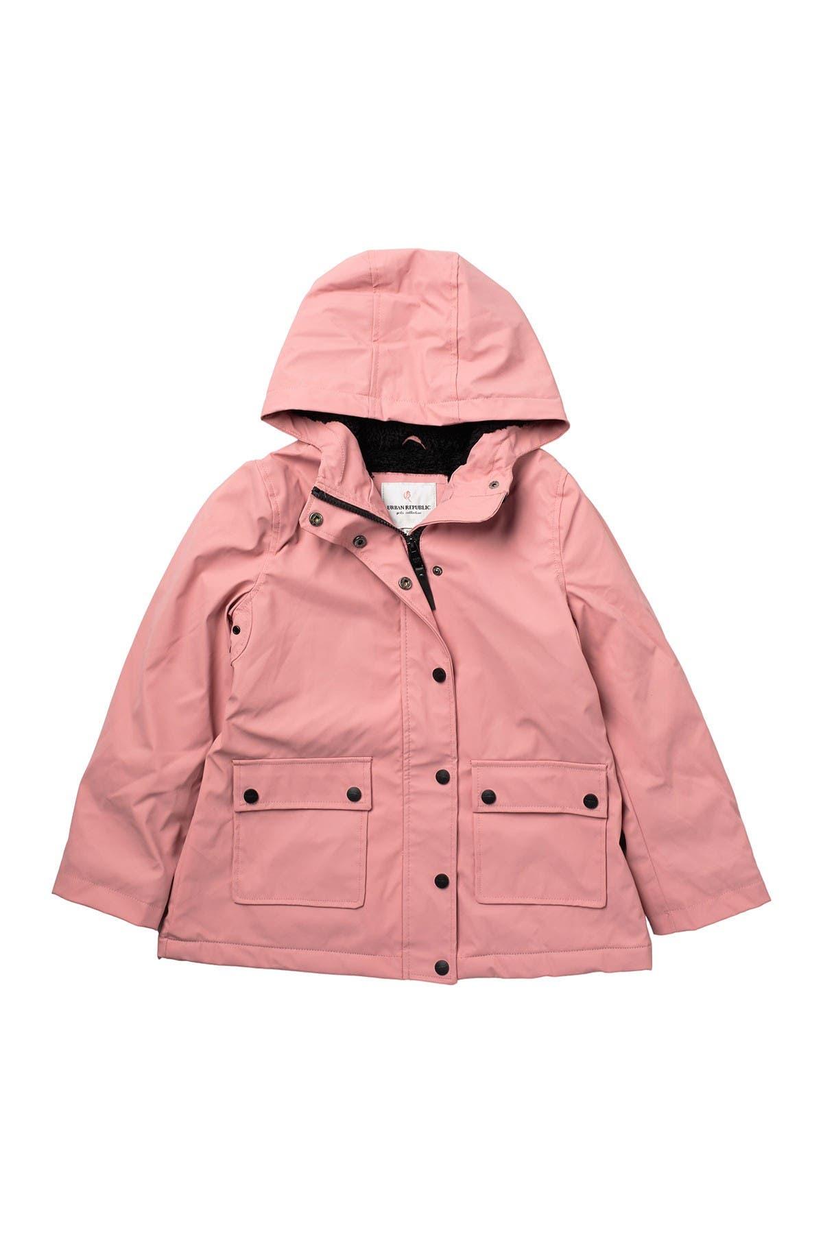 Image of Urban Republic Hooded Faux Shearling Lined Rain Coat
