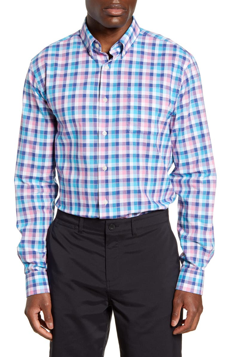 JOHNNIE-O Samara Classic Fit Plaid Button-Down Shirt, Main, color, WAKE