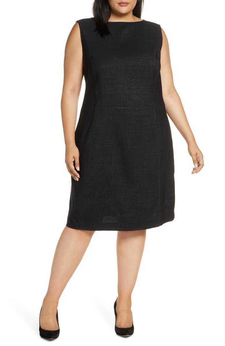 LAFAYETTE 148 NEW YORK Brett Stretch Wool Sheath Dress, Main, color, BLACK MULTI