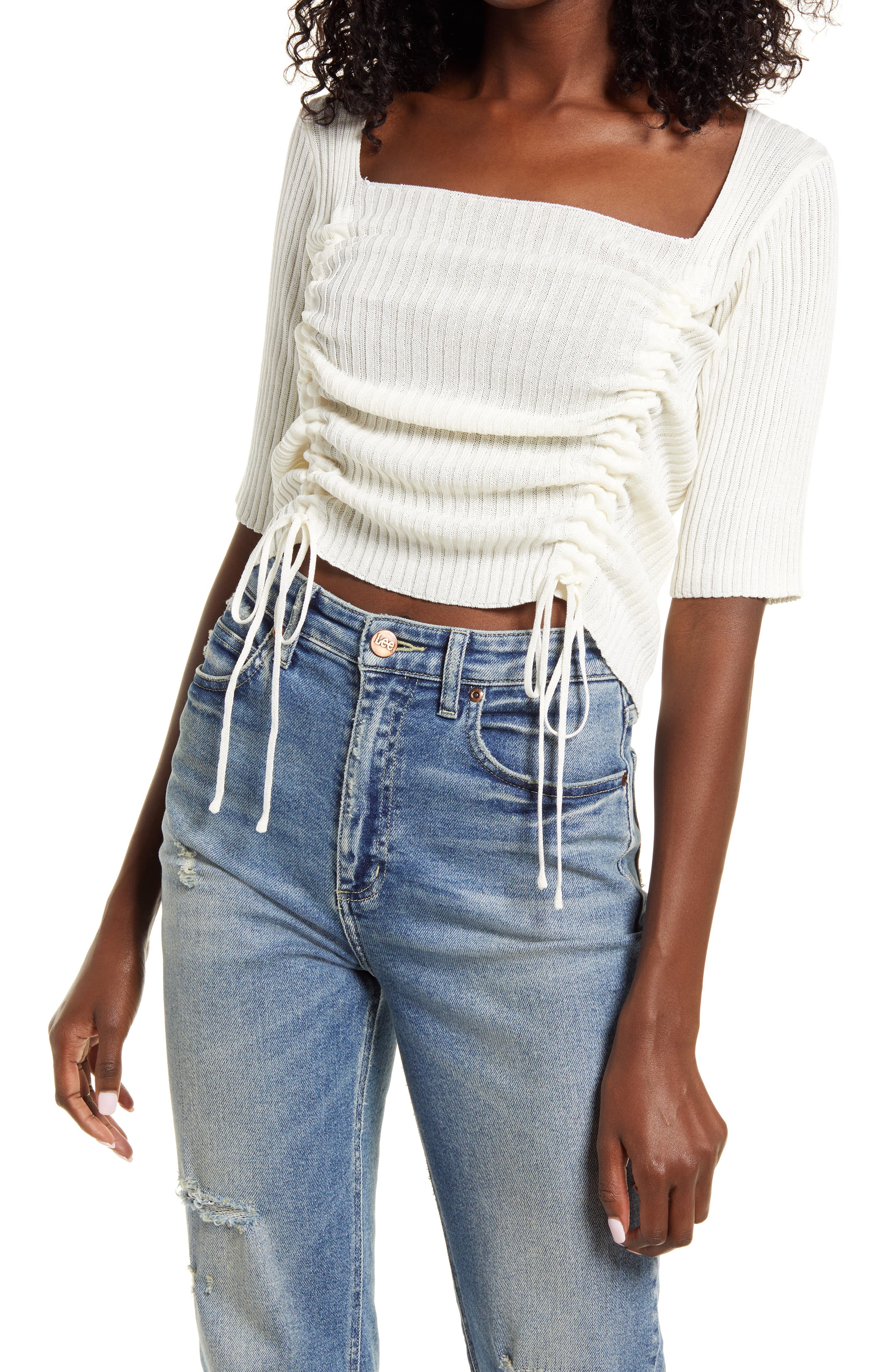 Ruched Square Neck Sweater