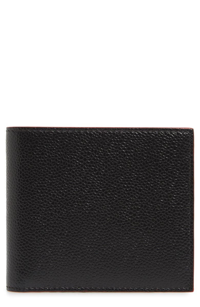 THOM BROWNE Pebbled Leather Billfold Wallet, Main, color, BLACK