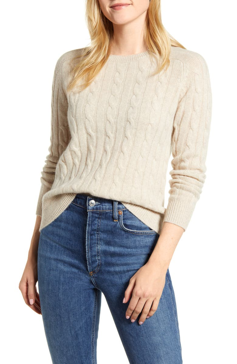 1901 Cashmere Cable Sweater, Main, color, OATMEAL
