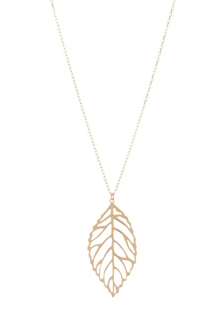 Image of KARAT RUSH 14K Yellow Gold Cutout Leaf Pendant Necklace