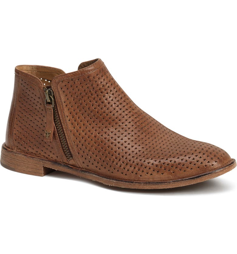 TRASK Addison Low Perforated Bootie, Main, color, TEAK LEATHER