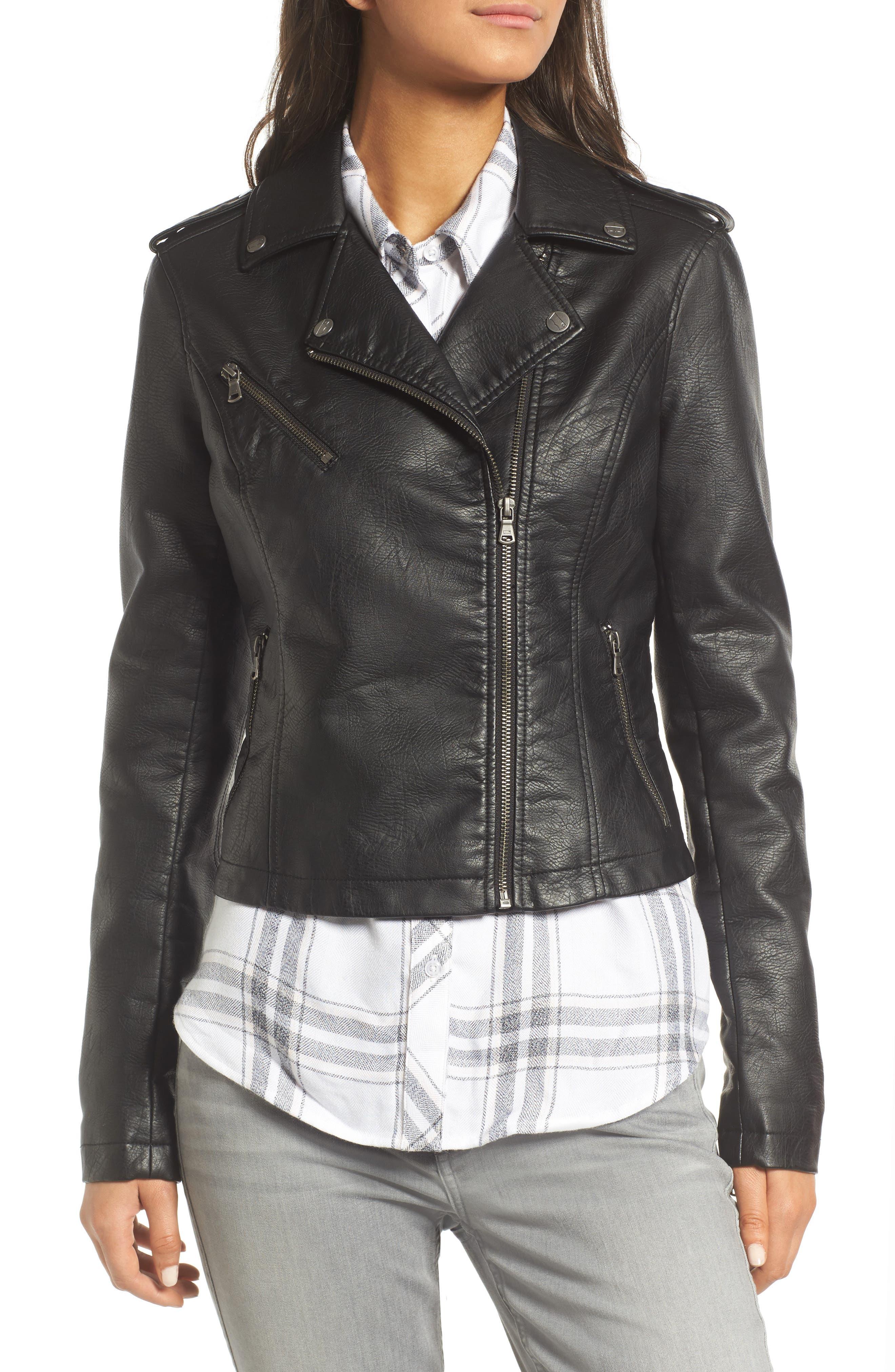,                             Faux Leather Moto Jacket,                             Alternate thumbnail 23, color,                             001