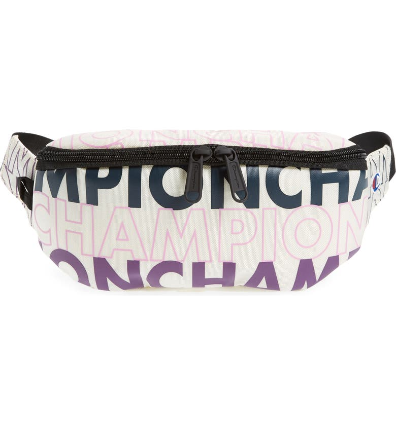 CHAMPION Prime Logo Graphic Belt Bag, Main, color, WHITE/ PURPLE