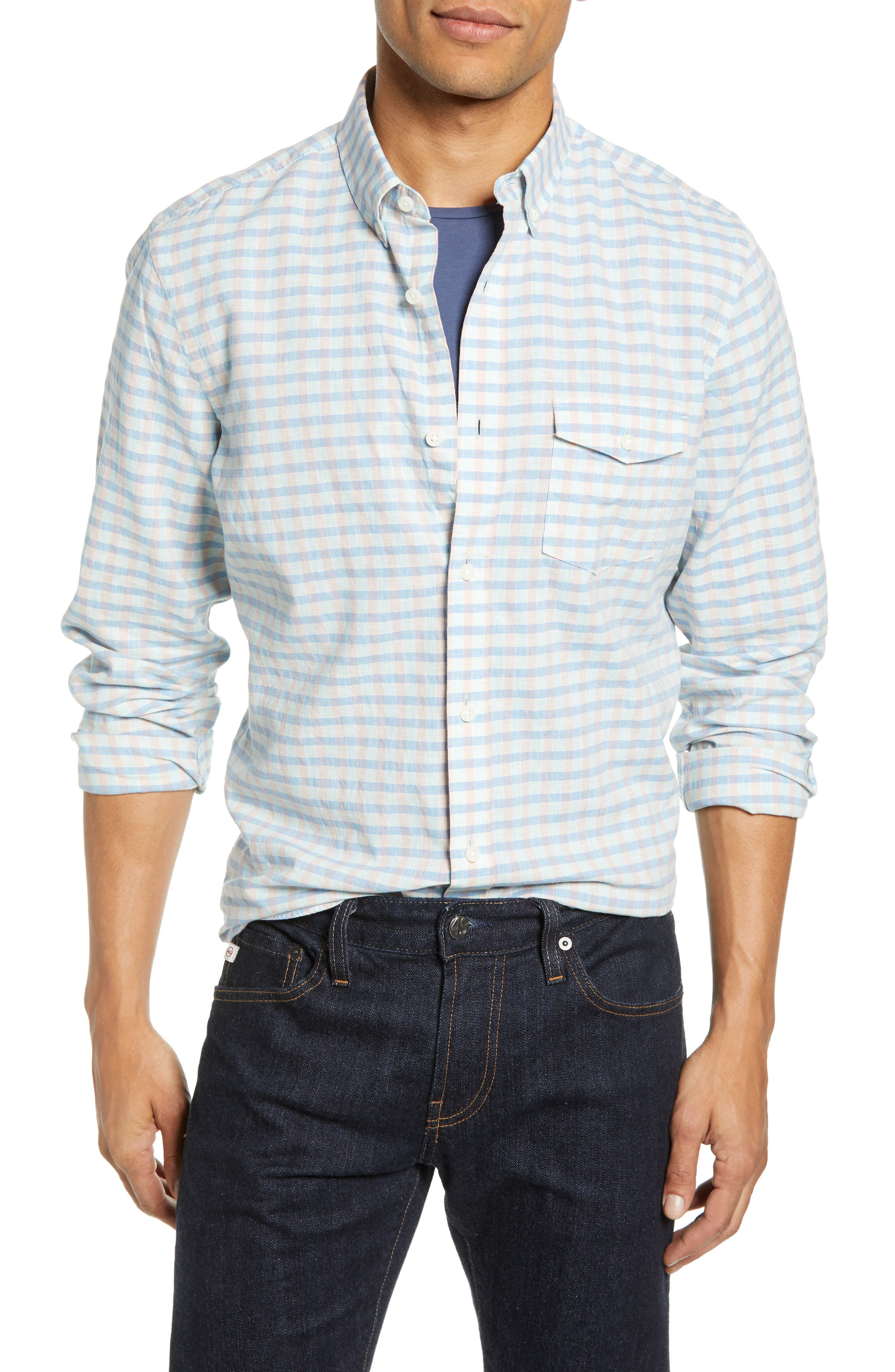 Ivy Heather Linen Blend Slim Fit Sport Shirt, Main, color, TEAL FAIR BLUE GINGHAM