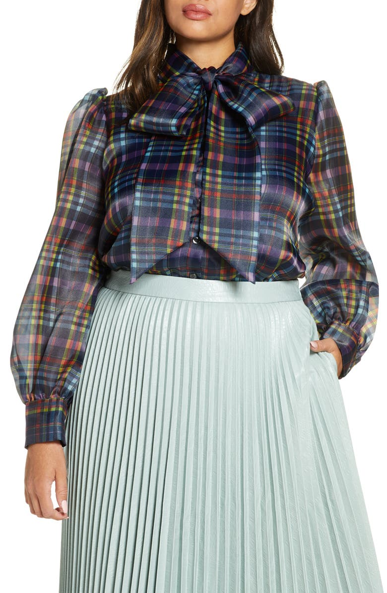 HALOGEN<SUP>®</SUP> x Atlantic-Pacific Bow Collar Blouse, Main, color, 410